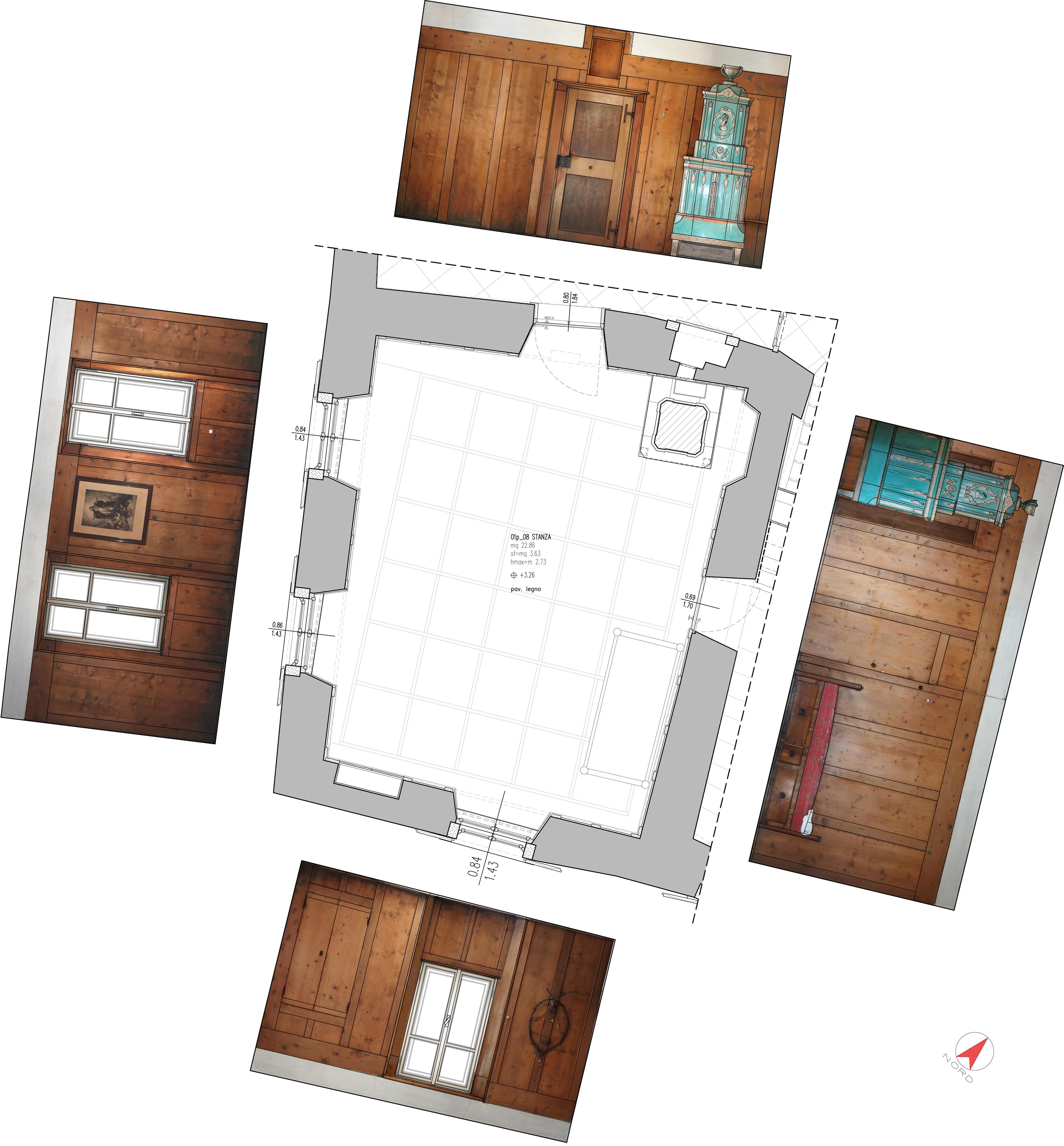 Prospetti interni stanza a primo piano